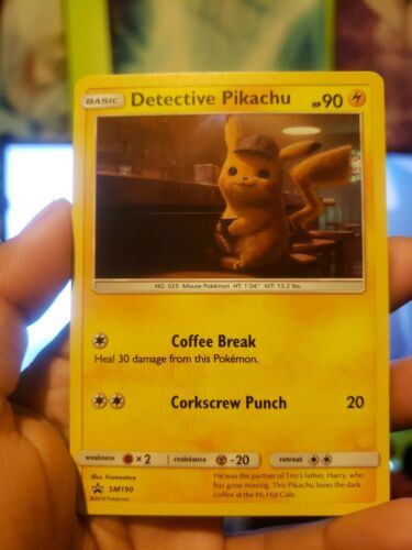 Detective Pikachu Movie Promo SM190 Holographic Card SECURE SHIPPING