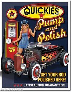 Image Is Loading S Gas Pump Amp Polish Pinup Tin Sign