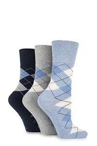 Femmes 3 Paire Gentle Grip Argyle à Motif Coton Chaussettes-afficher Le Titre D'origine Apparence éLéGante