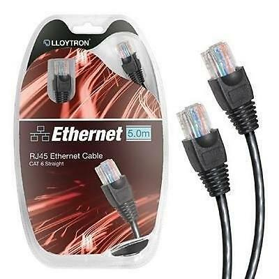 Black Lloytron A2523 5.0m Cat6 High Speed Ethernet Cable RJ45 8P8C 500Mhz New