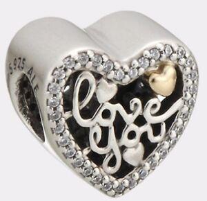 New-Genuine-Silver-PANDORA-Script-of-Love-Heart-Gold-Charm-792037CZ-RRP-60