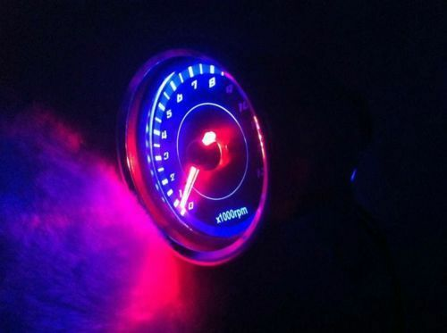 NEW Universal  Motorcycle   Tachometer Speedometer Gauge LED Light 13000 RPM
