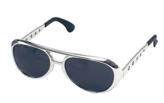 Rock n Roll King Sunglasses Silver Frame, 1950's & 1970's, Pimp, Fancy Dress #AU