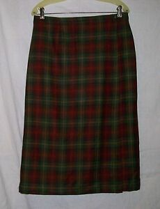 d28f669f94 L.L.BEAN Lined Wrap Plaid Wool Straight Skirt 12 Petite~ Warm Fall ...