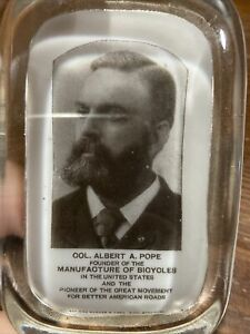 Col Albert A Pope Bicycle Glass Paperweight #2 Barnes Abrams