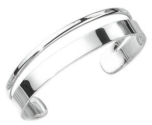 Elements 925 Polished Sterling Silver Ladies Oval Flat Split Band Torque Bangle