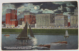 USA-Postcard-Postcard-Ak-Chicago-Blackstone-Hotels-51st-1915-A2342