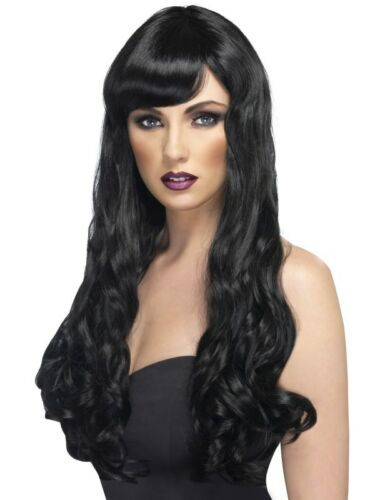 Black Desire Wig Long Curly w// Fringe Adult Womens Smiffys Fancy Dress Costume