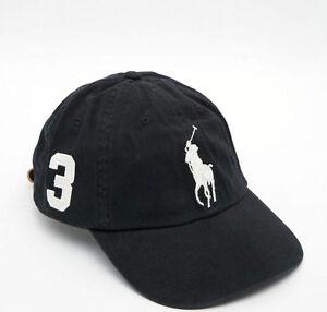 b872a944516 NEW! Black White POLO Adult Hat Ralph Lauren BIG PONY Classic Sport ...