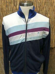 Vintage-Original-Penguin-Men-s-Long-Sleeve-Blue-Purple-White-Striped-Sweater-L