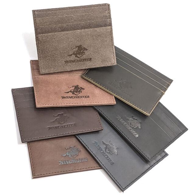 Winchester Credit Card Holder Front Pocket RFID Wallet Slim Thin Genuine Leather