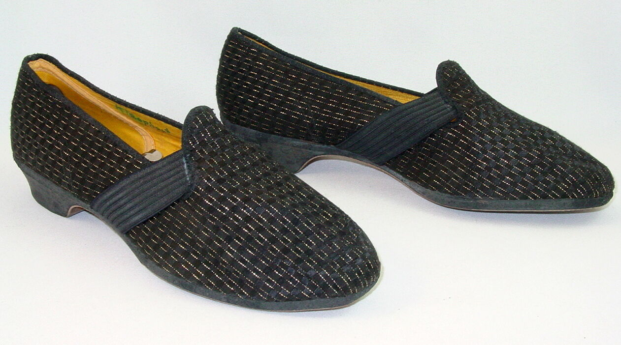 Vtg Wellco Slippers 7 8 W Black Gold 50s Pin Up Geek Chic Rockabilly Bettie Lucy