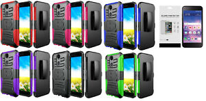 Details about For LG Rebel 4 LML212VL / LML211BL Clip + Hybrid Case Cover +  Glass Protector