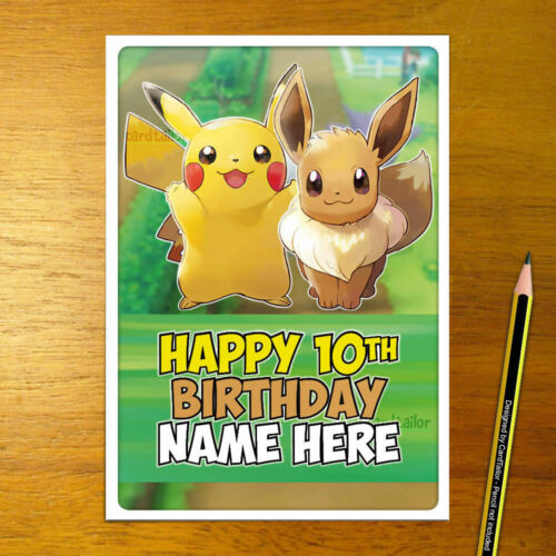 pokemon eevee pikachu personalized LETS GO  POKÉMON Personalised Birthday Card