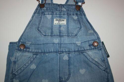 New OshKosh Girls Denim Blue Jean Heart Print Overalls 2T 3T 4T 5T  Vestbak