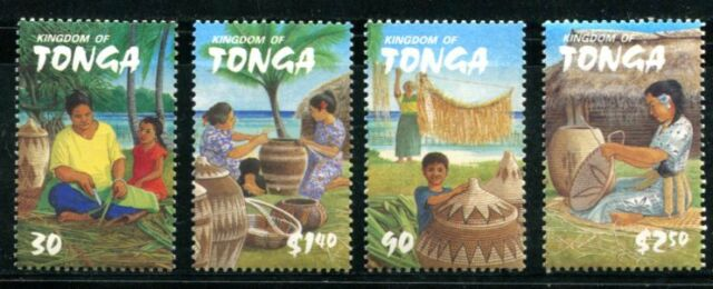 TONGA 2002 BASKET WEAVING - BASKETS MINT NEVER HINGED COMPLETE SET - $7  VALUE!