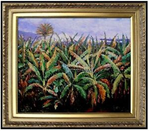 Framed-Renoir-Pierre-Banana-Trees-Repro-Hand-Painted-Oil-Painting-20x24in