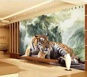 Carta Da Parati In 3d.3d Animale Tigre Parete Murale Foto Carta Da Parati Immagine Sfondo