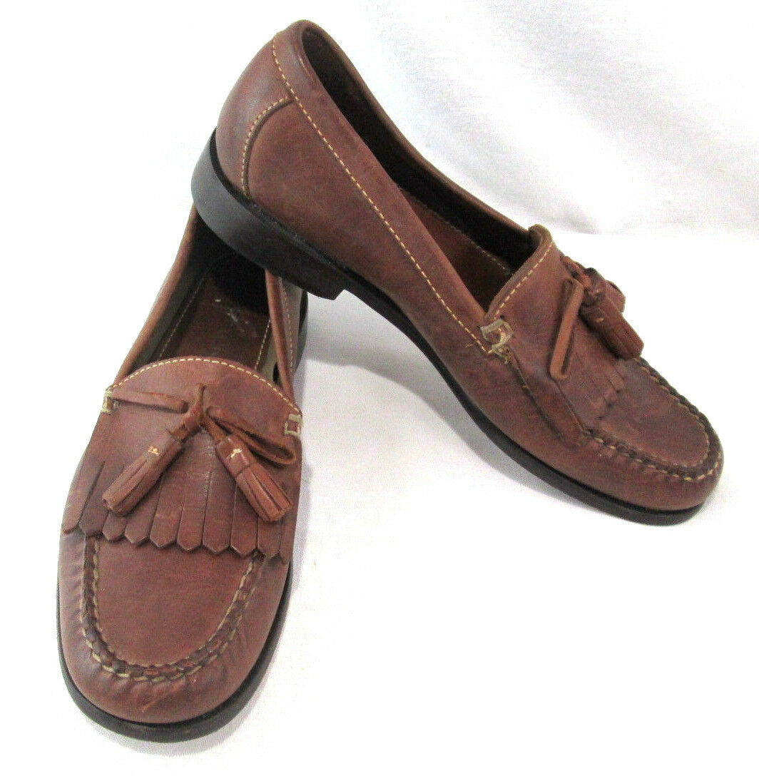 Bostonian Mens shoes Brown Leather Loafer w  Tassels Size 7.5 M