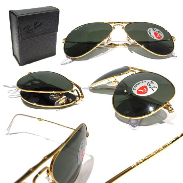 c904795a0469 Ray Ban Folding Aviator Sunglasses RB 3479 001 58 Gold Green Polarized 58mm