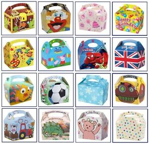 12-Kids-PARTY-Food-Meal-Lunch-Gift-BOXES-Range-of-Themes-Occasions-Patterns