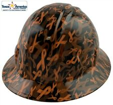 Cancer Awareness Orange Hydro Dipped Full Brim Hard Hat With Ratchet Suspension