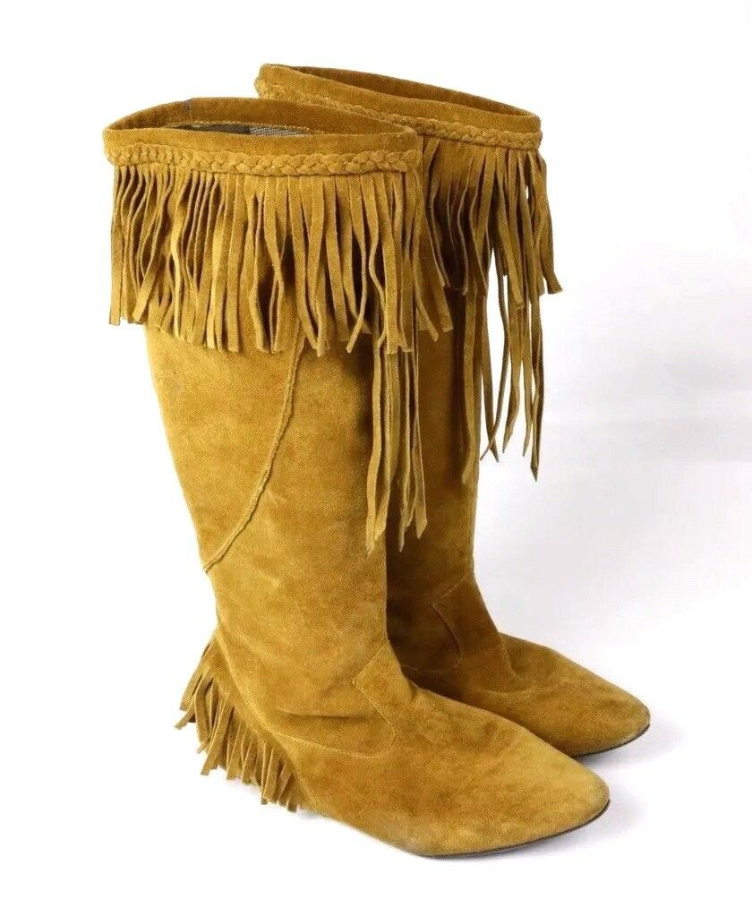 Sam Edelman Utah Tan Fringe Suede Leather Moccasin Knee Boots Women's Size 7
