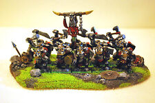 "WARHAMMER ORCS AND GOBLINS ""BLACK ORCS OLD TIPE PRO PAINTEd with scenery bases"""