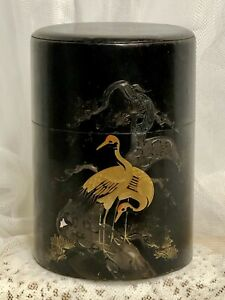 VTG-Japanese-Tea-Tin-Canister-Double-Lid-Gold-Crane-on-Black-Caddy-Japan-6-25