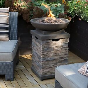 Patio Deck Fire Pit Bowl Table Propane Backyard Outdoor