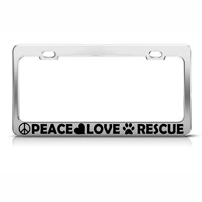 Peace Love Pickleball Chrome License Plate Frame