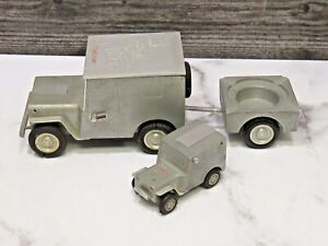 Vtg-3-Piece-US-ZONE-Germany-BAIER-GES-GESCH-Jeep-Lighters-amp-Ash-Tray-Wiesbaden