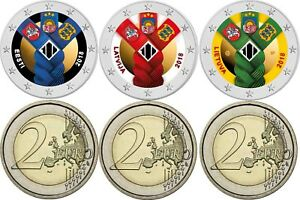 Baltische-Gemeinschaftsausgabe-2-Euro-2018-Lettland-Estland-Litauen-in-Farbe