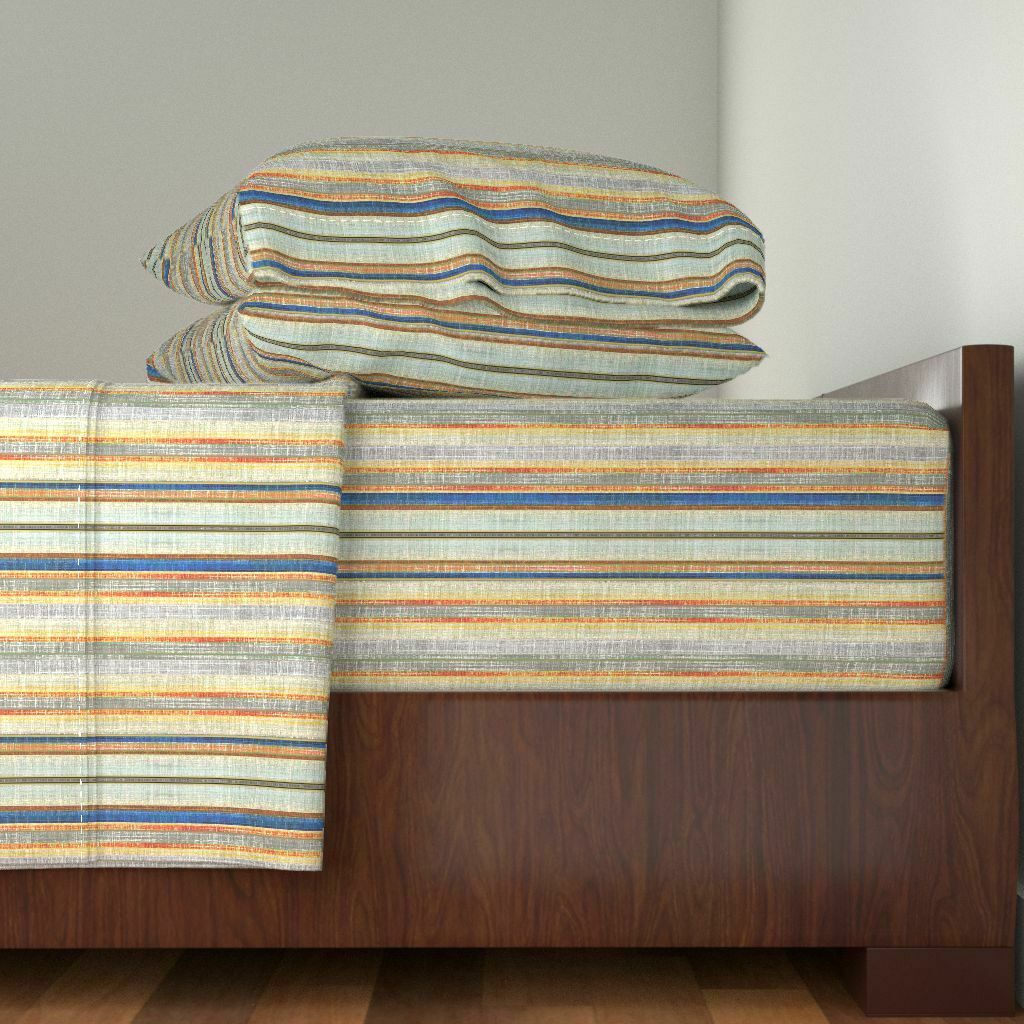 Striped Vintage Rust Stripe Cobalt 100% Cotton Sateen Sheet Set by Roostery
