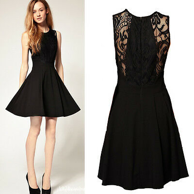 1pc Womens Vogue Elegant Slim Lace Black Ball Evening Dance Party Dress 4 Sizes