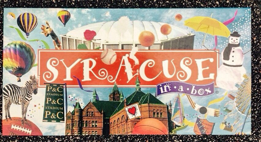 SYRACUSE IN A BOX MONOPOLY BOARDGAME, BOARD GAME, SYRACUSE, NY, COMPLETE