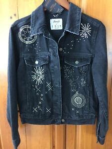 decorata nera Co decorata nera Giacca Co Denim Giacca Denim atw6xqw8