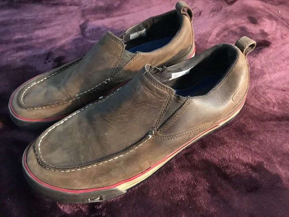 Keen Slip On shoes Mens Size US 10 Brown Leather Loafer Casual Slide On SC8