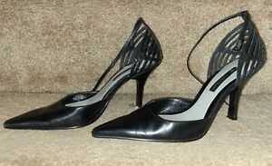 Enzo Angiolini Women's Ankle Strap Stiletto Heels Size US 7.5M Black Leather