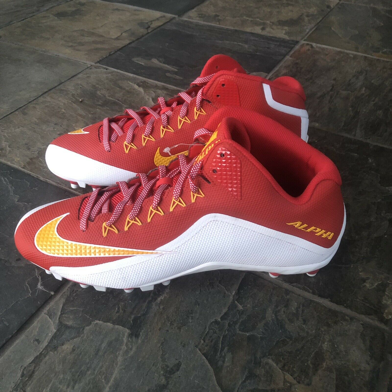 fc4cfb07c NIKE Alpha 2TD 3 4 Mens Football Cleats Red White Size 15 Yellow Pro  nskvib653-Men