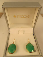 Macy's Dyed Jade Oval Drop Earrings In 14k Gold (16mm) $600 W/gift Box