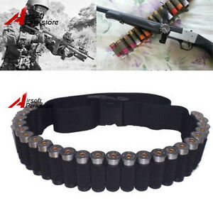 Tactical-Hunting-Shotgun-Shell-Holder-25-Shell-Cartridge-Ammo-Sling-Belt-Black