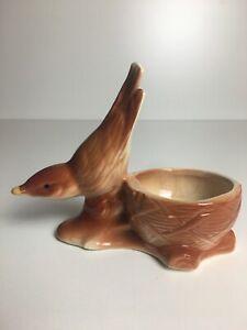 """VTG 1950's Shawnee USA Art Pottery Bird Brown Wren and Nest Planter, 5"""" Tall"""