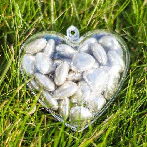 x10 Heart Shaped Empty Clear Fillable Valentines day Containers gift idea 60mm
