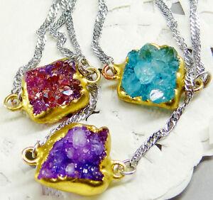 18k GOLD druzy geode quartz cluster healing pendant Connector chain necklace 18