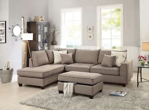 Outstanding Details About Living Room Mocha Dorris Fabric Sectional Sofa 3Pc Set Pillows Reversible Chaise Gmtry Best Dining Table And Chair Ideas Images Gmtryco