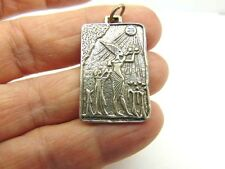 Vtg Sterling Silver Cartouche Necklace Egyptian Tribal Cirus Gods Rah Sun Diety