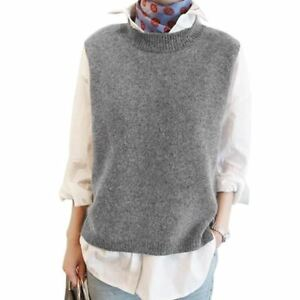 07b553b38cdbd Women s Winter Loose Wool Sleeveless O-Neck Knitted Cashmere Vests ...