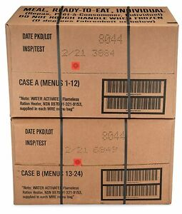 12ct case MRE Meals Ready-to-eat US Military Surplus A Menus 1-12, 2021-inspect