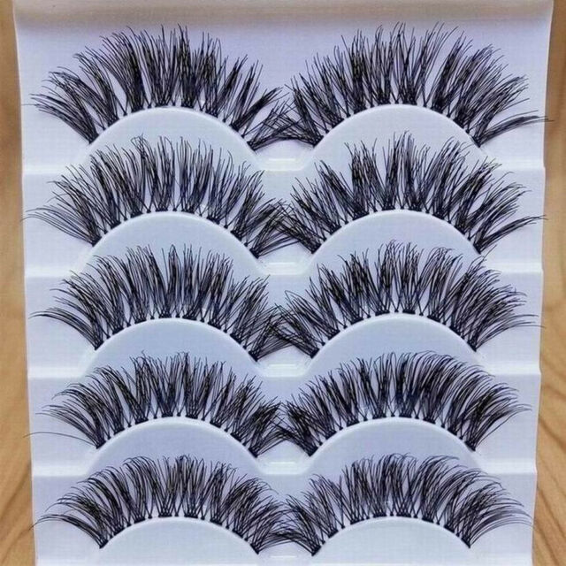 HR- Makeup Handmade 5 Pairs Natural Long Dense False Eyelashes Extension Novelty